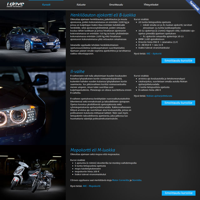I Drive courses page